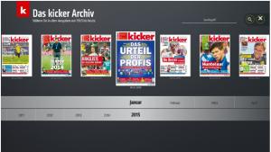 Abbildung: Screenshot des kicker-Webfrontends im Deutschen Fußballmuseum
