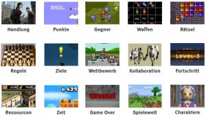 Beispiele für nutzbare spieltypische Elemente (Quellen: Diverse Videospiele)